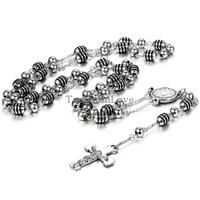 New Vintage Black Rosary Jesus Christ Crucifix Necklacce Stainless Steel Bead Chain Long Necklaces Pendants For