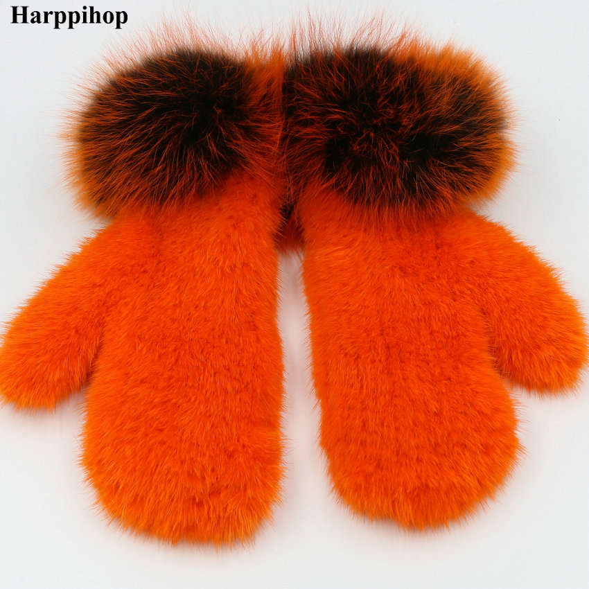 Apparel Accessories Nice Harpppihop Natural Mink Fur Gloves For Women Winter Mitten Natural Mink Knitted Mitten Fox Fur Wrist New Brand Gloves Elastic