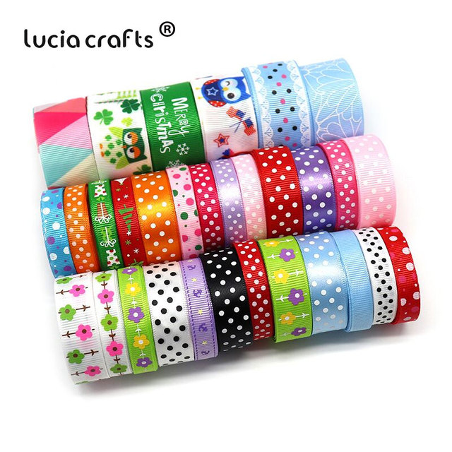 Lucia crafts Multi Mixed Printed Grosgrain Satin Ribbons DIY Sewing Hairbows Gift Wrapping Christmas Ribbon Accessory S0101