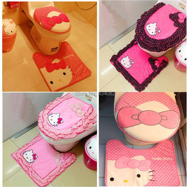 Hello kitty cartoon toilet warm seat cover in bathroom plush polka