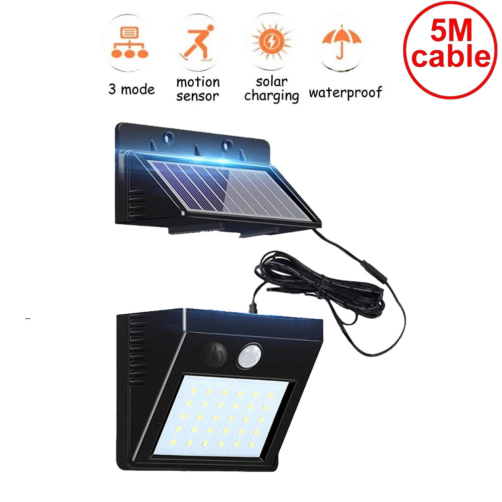30 Leds Solar Light Led Lamp Detachable Panel Waterproof Wireless Radar Garden Garage Patio Lantern Security Deck Fence Decor 5M