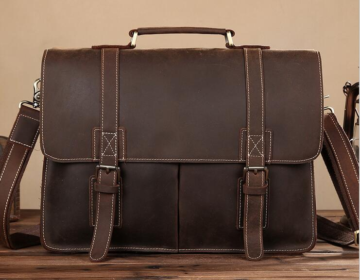 Vintage Genuine Leather Crazy Horse Men's Briefcases 14 Laptop Handbag Brown iPad Bag Male Men Portfolio Tote Travel Bag #L0203 crazy horse leather in totes bag men briefcases handbag messenger bag portfolio laptop 7164r