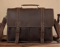 Vintage Genuine Leather Crazy Horse Men's Briefcases 14 Laptop Handbag Brown iPad Bag Male Men Portfolio Tote Travel Bag #L0203