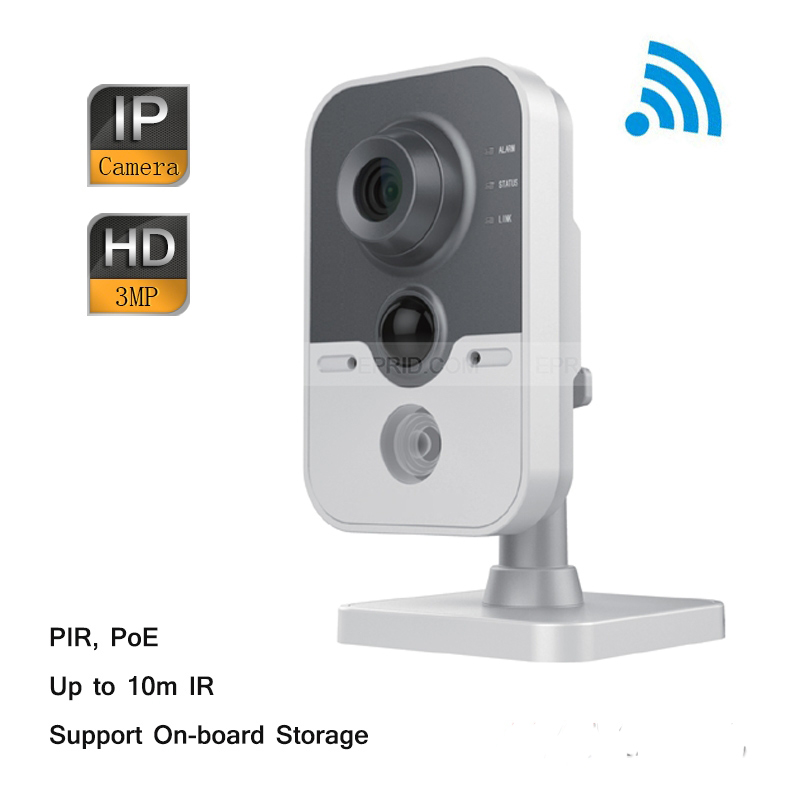 Original English DS-2CD2432F-IW Hik 3MP IR Cube IP Network Microphone Wireless Camera POE Wi-Fi PIR Detection hikvision ds 2cd2442fwd iw wifi camera 4mp ir cube wireless ip camera poe ip camera baby monitor wireless security cam