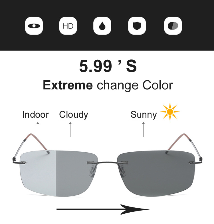 Photochromic Polarized Rimless Sunglasses Glasses Extreme