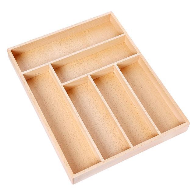 Non Retractable Beech Storage Box Cutlery Tray Box Storage Western Style  High Grade Kitchen Drawer Organizer 2018 Newest