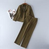 High Quality Clothing Set Blazer Suits 2017 Autumn Winter Business Women Notched Colar Green Blazer Coat