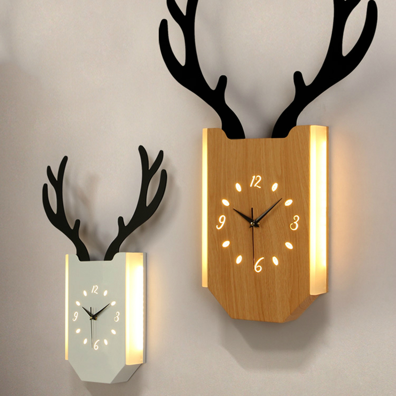 2in1 Wall Lamp Wall Clock Sconce Light Fixture Bedroom Wall Art Living Room Decoration Nordic Modern Deer Head Hanging Room Lamp2in1 Wall Lamp Wall Clock Sconce Light Fixture Bedroom Wall Art Living Room Decoration Nordic Modern Deer Head Hanging Room Lamp