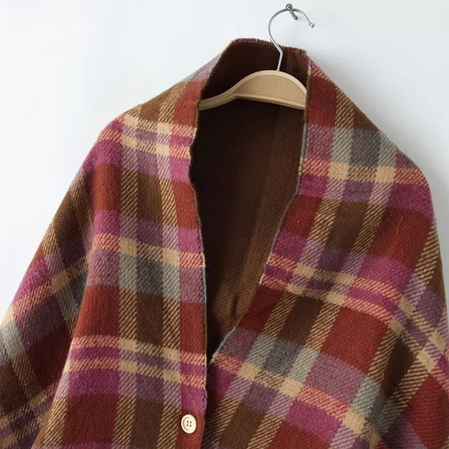 Plaid Tartan Button Poncho | Ponchos and Capes | Up to 60% Off Now