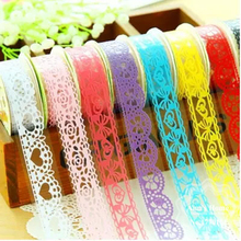 Free Shipping Candy Color Lace Ahesive Tape Home Decoration Roll Tape Washi PVC Decorative Sticky Masking Self Adhesive Tape DIY cute kawaii lace adhesive washi tape flower decorative masking tape for home decoration photo album free shipping 3645