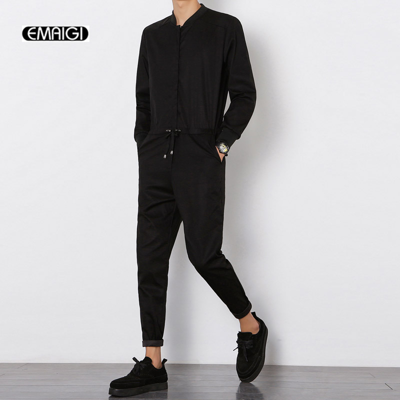 spring autumn new men jumpsuit male long sleeve casual harem pant overalls hip hop fashion. Black Bedroom Furniture Sets. Home Design Ideas