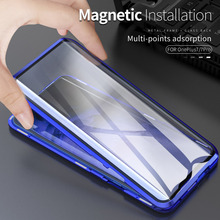 Luxury Magnetic Case For Oneplus 7 Pro Case Aluminum Metal Frame Transparent Glass Front Back 360 Cover For One Plus 7 1+7 Pro