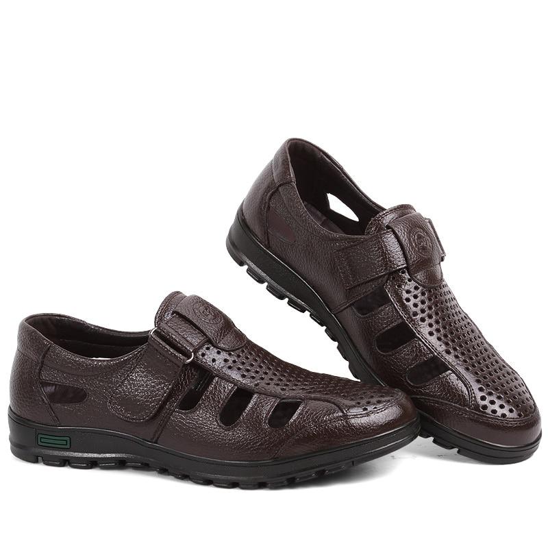 Mænd mandlige afslappet Fisherman sandaler ægte ko læder sommer - Mænds sko