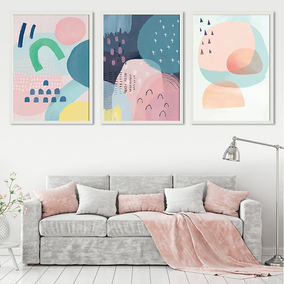 Abstract Multi Pink Princess Canvas Paintings Nordic Watercolor Poster Print Wall Art Pictures for Nursery Girls Room Home Decor