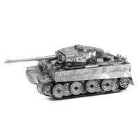 Tiger Tank 3D Metal Puzzles Miniature Model DIY Jigsaws Remote Car Silver Model Educational Toys Gift