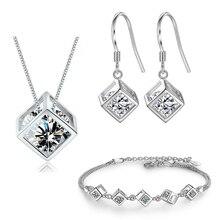 Набор свадебных украшений XIYANIKE из стерлингового серебра 925 пробы с простым геометрическим квадратом Love, высококачественный подарок для жен...
