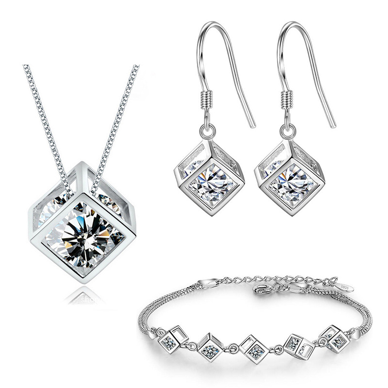 XIYANIKE 925 Sterling Silver 2019 Simple Geometric Square Love Wedding Jewelry Sets High Quality For Women Bride Gift NE+EA+BR