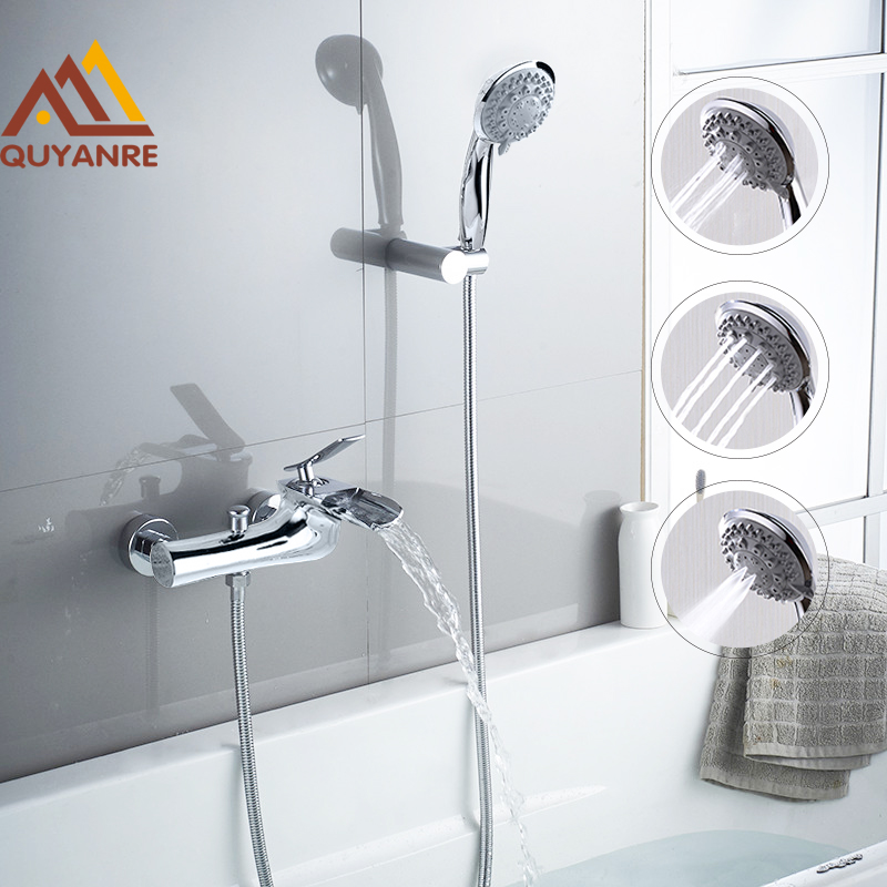 Quyanre Cascade Waterfall Bathtub Shower Faucets Torneira Chrome Single Handle Mixer Tap Wall Mount Bathroom Shower Faucets Set swans flowers cascade waterproof shower curtain carpet set