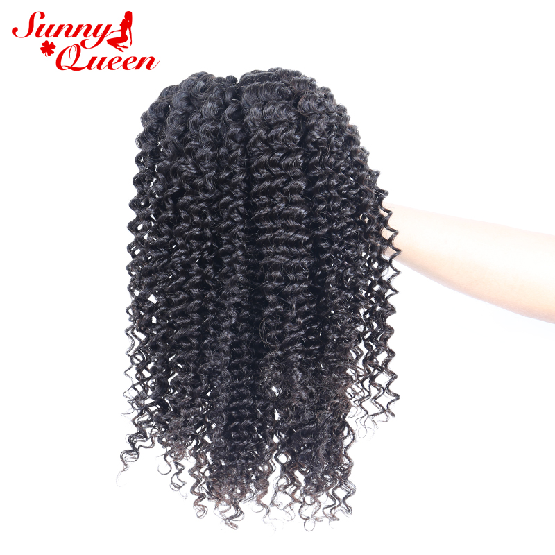 4 PCS Brazilian Kinky Curly Hair Weave Bundles 100% Remy Hair Extensions Natural Color Free Part Sunny Queen Hair Products