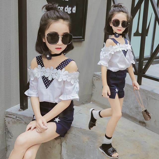 949728c1317e8 الفتيات مجموعة ملابس 2019 الصيف الاطفال الفتيات الملابس أزياء قصيرة الأكمام  تي شيرت + السراويل 2