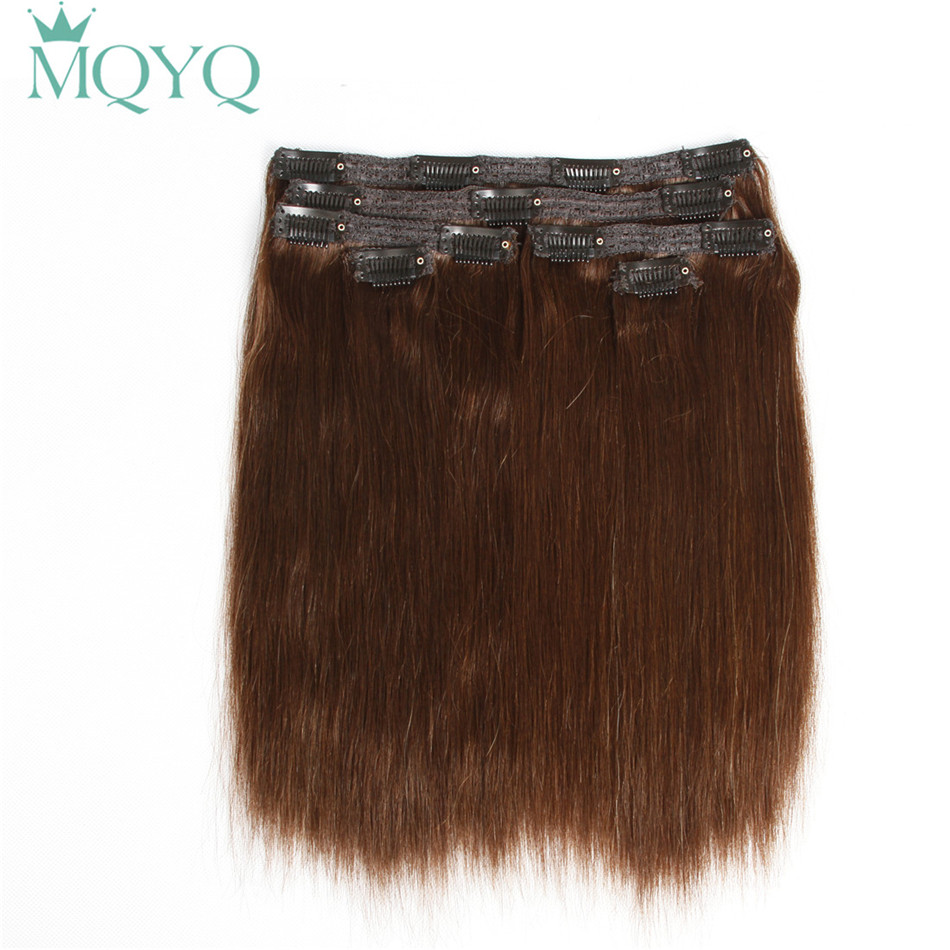 MQYQ Cheveux Raides Clip dans les Cheveux Extensions #2 Brun Foncé 100% Vrais Cheveux Humains 6 pcs Brésiliens Clip sur Extension de cheveux