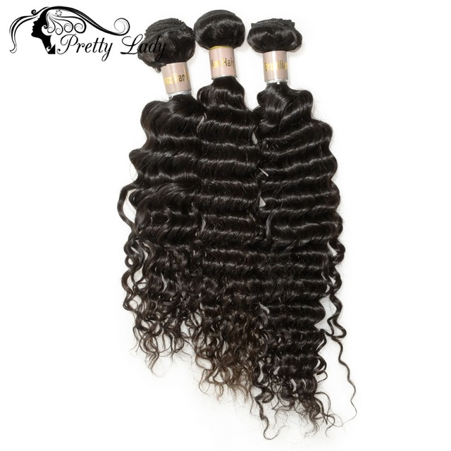 Pretty Lady  Hair 3 Bundle Deals Deep Wave Brazilian Hair Unprocessed Virgin Hair Natural Color 8A Human Hair Weave Bundles