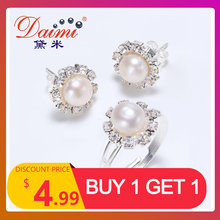 DAIMI Jewelry Sets 6-7mm Real Pearl silver Plated Sets, Female Jewelry(China)