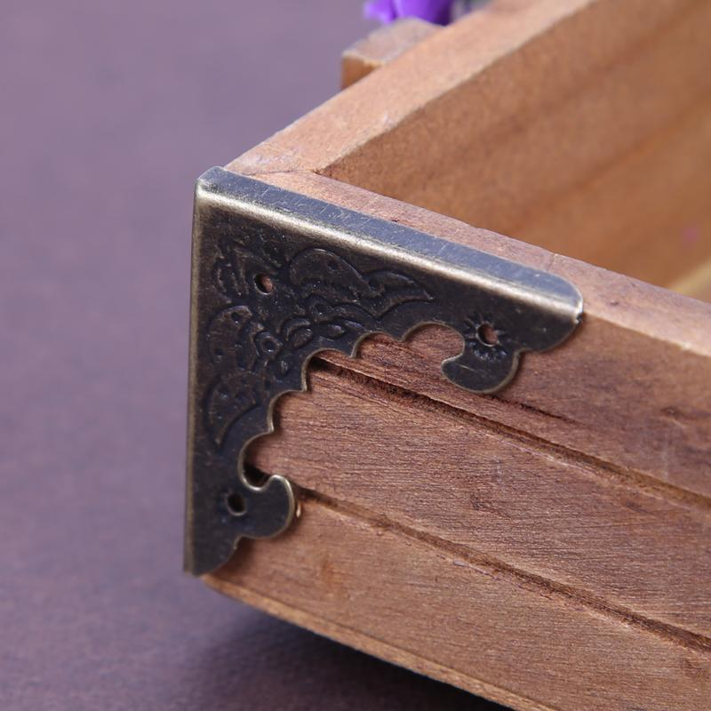 12 Pcs Antique Bronze Jewelry Box Corner Foot Wooden Case Furniture Decorative Metal Corner Protector