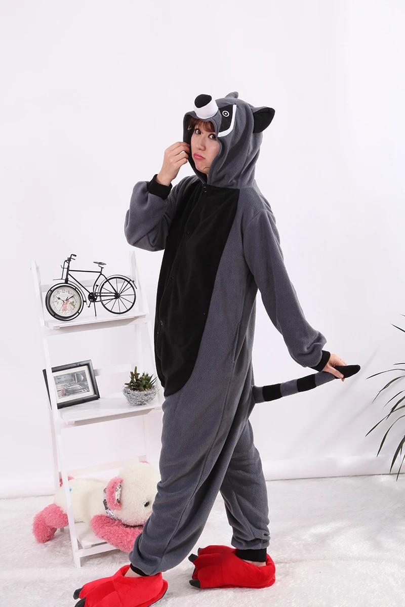 Adult Raccoon Onesie Pajamas Cosplay Animal Homewear Sleepwear Jumpsuit Costume for Women Men
