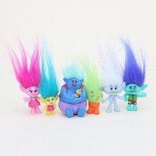 3-7cm 6Pcs/Set Trolls PVC Model Action Figure Toys Branch Critter Skitter Figures Long Hair For Kids Christmas Gifts