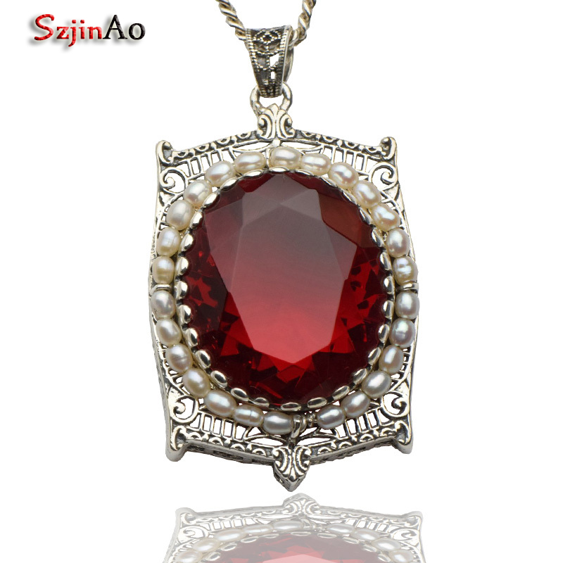 Szjinao Promotion Classic Antique Ruby 925 Sterling Silver Jewelry Natural Pearl Women Handmade Pendant WholesaleSzjinao Promotion Classic Antique Ruby 925 Sterling Silver Jewelry Natural Pearl Women Handmade Pendant Wholesale