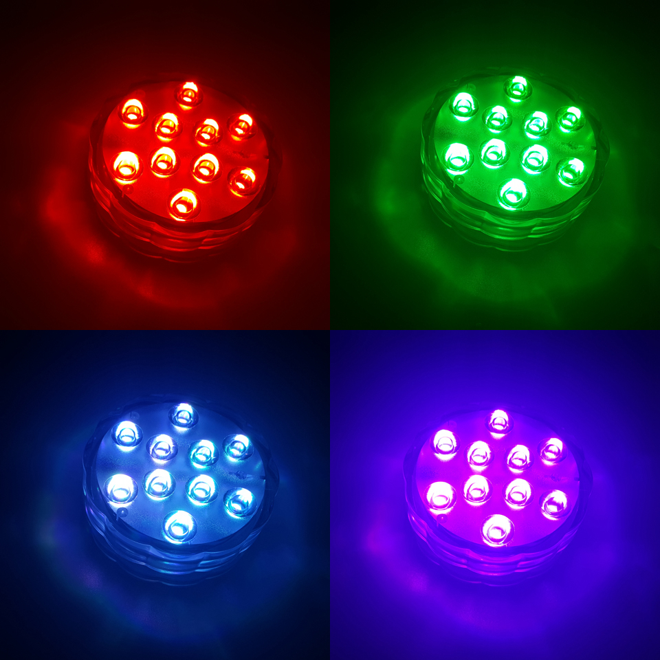 4pcs Rgb Led Underwater Light Battery Operated Waterproof Swimming Pool Light Tea Light Led