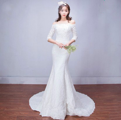A word shoulder the tail wedding dress 2016 new bride in Europe and the big yards pregnant women fishtail wedding dress свадебное платье happy about the wedding dress hs1861 2015