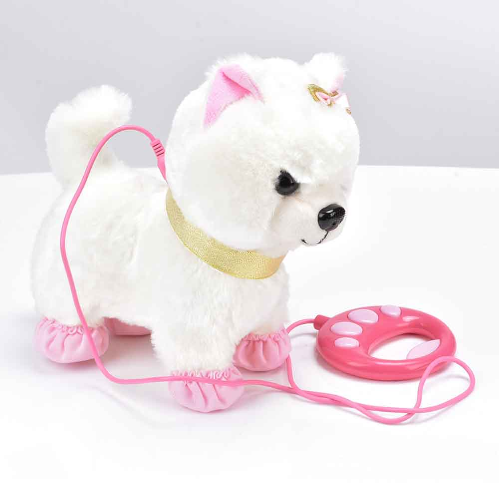 Robot Dog Sound Control Interactive Dog Electronic Toys Plush Puppy Pet Walk Bark Leash Teddy Toys For Children Birthday Gifts(China)