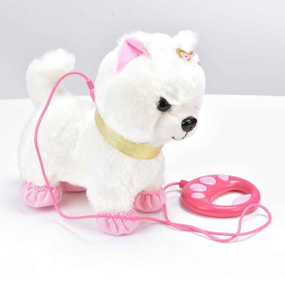 Robot perro de Control de sonido interactiva perro juguetes electrónicos de peluche cachorro mascota caminar correa de corteza juguetes de peluche para niños regalos de cumpleaños