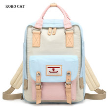Junior High School Student Backpack Multi-color Teenager Ladies Travel Rucksack Fashion Girls Canvas Bookbag Mochila Feminina
