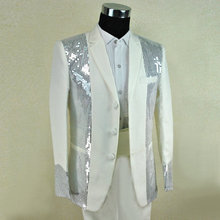 2015 male costume fashion costume 99 men's clothing paillette white suits clothes costume for singer dancer star nightclub  show