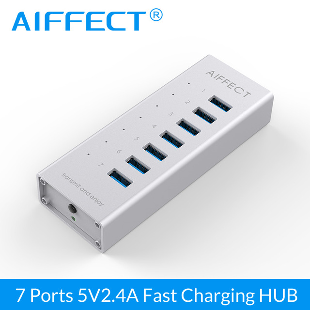 AIFFECT 7 Port Aluminum USB 3.0 HUB BC1.2 Fast Charger With 12V 2A Adapter USB Splitter For iPhone Xiaomi HTC Huawei 1M Cable