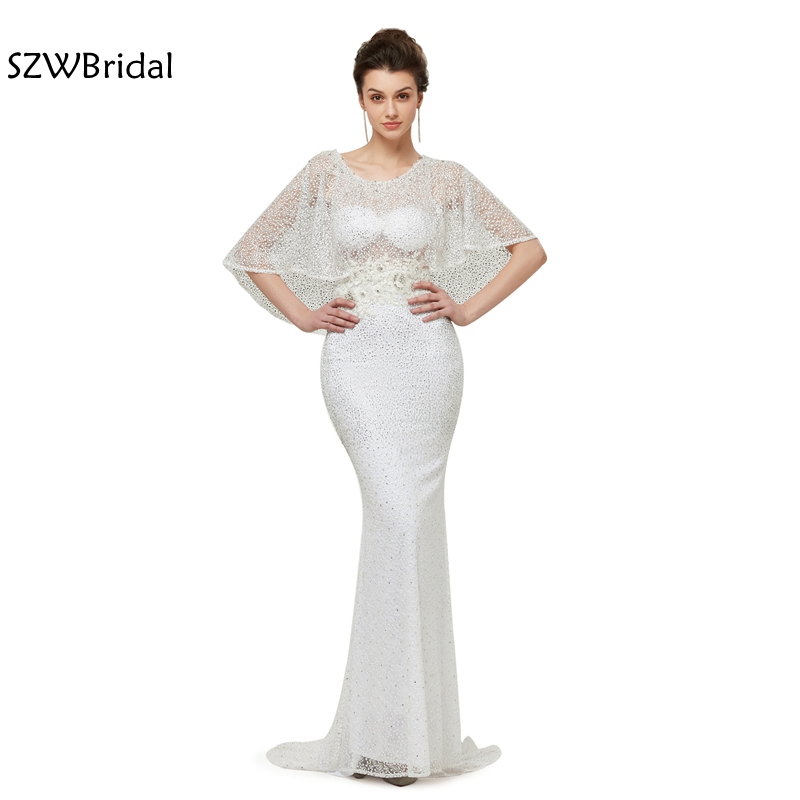 New Arrival Cap sleeve Mermaid   Evening     dresses   2019   Evening   gowns Lace formal   dress   elegant robe soiree vestidos largos