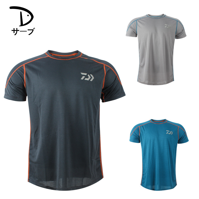 Daiwa Fishing Clothing Men s Summer Round Neck T Shirt Moisture Wicking Fast Drying Sports Short