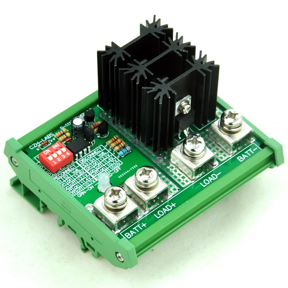DIN Rail Mount LVD Low Voltage Disconnect Module, 12V 80A, Protect Battery.