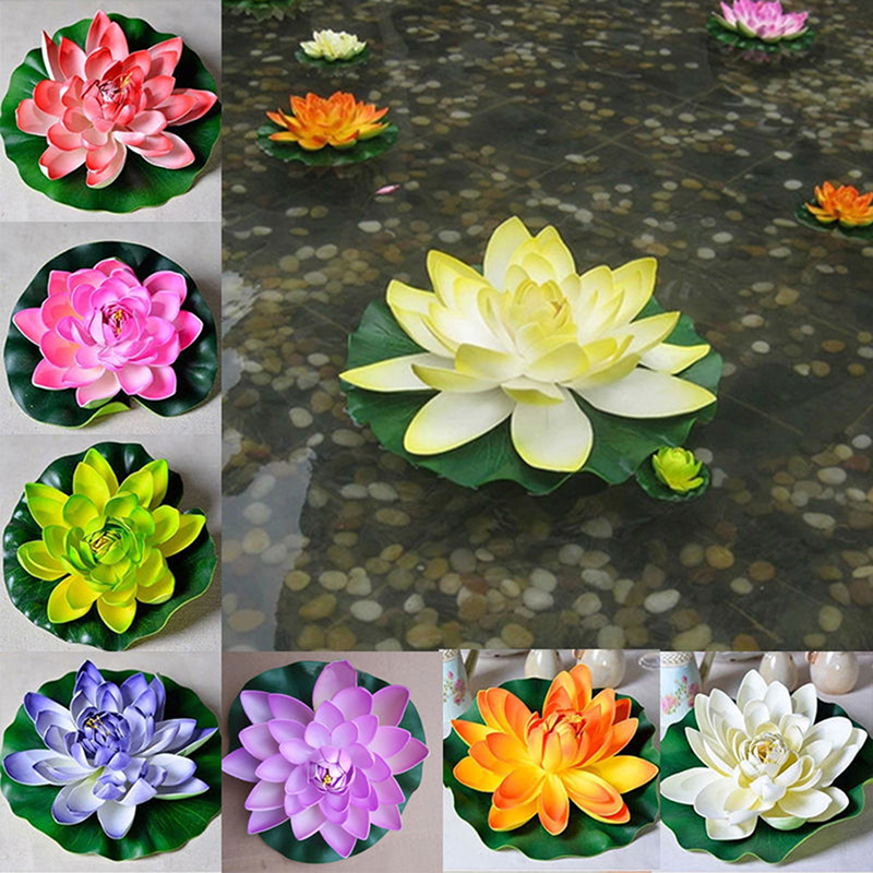 5X Artificial Lotus Water Lily Floating Flower Pond Fish Tank Plant Garden Decor