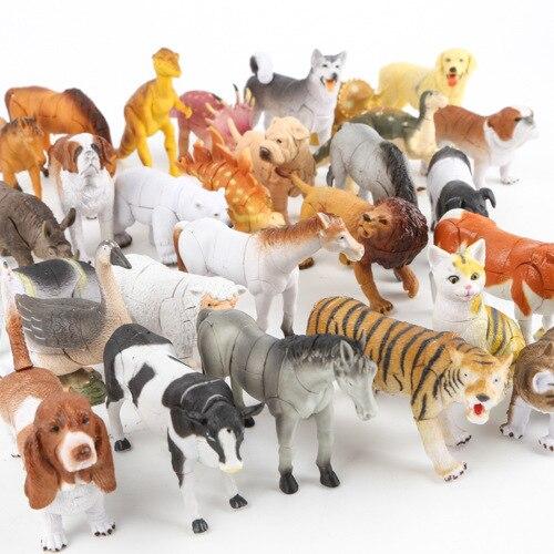 5 pcs/lot 4D Assembly Wildlife Assembling ancient times dinosaur lion tiger cat dog Assembling PVC toy free shipping