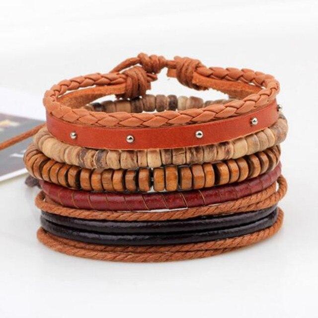 ZOSHI Vintage Tribal Bohemian Wood Beads Bracelet Boho Bracelet Cuff Men Leather Braclet Femme Male Wrist Band Handmade Jewelry 1