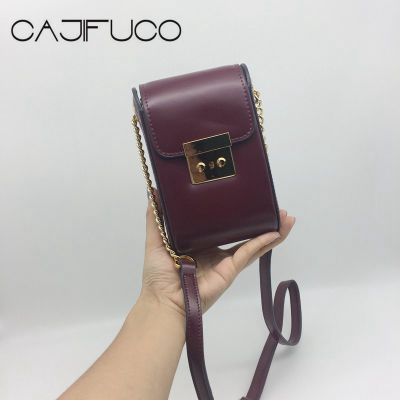 CAJIFUCO Summer Women Phone Holder Purse Shoulder Chain Handbag Metal Twist Lock Small Crossbody Leather Bag Bolsa Feminina