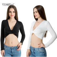 Black White Criss Bandage Long Sleeve Tops 2017 Women Sexy Deep V Neck Strapless Elastic Slim Club Top Open Chest T Shirts Party