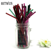 100pcs Hot Pink Red Green Metal Curve 6MM 215mm Drinking furtacor Straw Black Eco Friendly Bend Stainless Steel Food Grade Bar