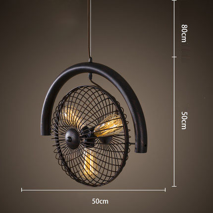 Retro Electric Fan Style Pendant Ligh. Black / Brown Rural Industrial Wind Turbine Personality Bar Edison Bulb E27 AC 110V-220V