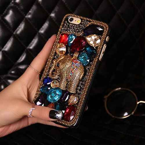LYBALL Luxury 3D Diamond Phone Case for Women Lady Handmade Crystal  Elephant Hard Back Cover Skin 93d036cffc