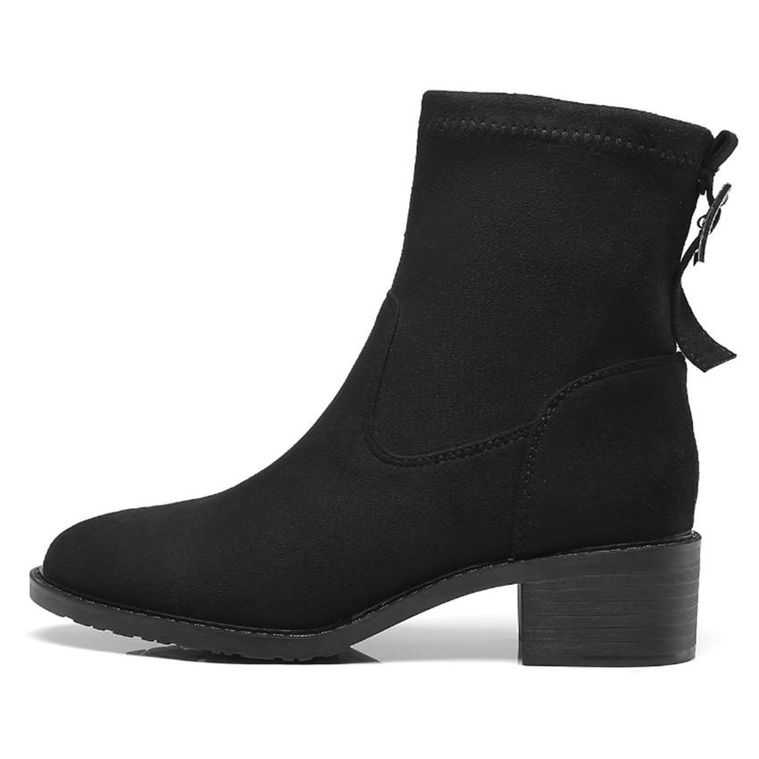 Bottes Chaussures Winter Courtes Noir Taille Hiver Autumn Automne Winter Plus Femmes Flock Bout Femme Pour Cheville Talons pu Rond La flock Bas Chaussons For Boucle 7PwpEqPB